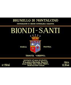 L'etichetta del Brunello di Montalcino Biondi Santi 2010