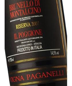 Etichetta Brunello di Montalcino DOCG Il Poggione Riserva Vigna Paganelli 2007