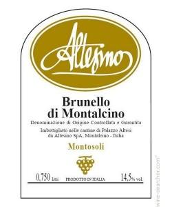 Etichetta Brunello di Montalcino DOCG Altesino Montosoli 2008