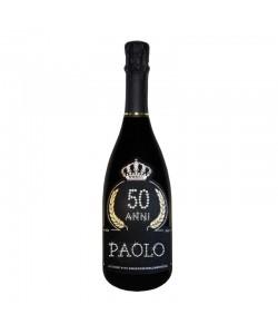 Bottiglia personalizzata con Swarovski Prosecco DOC De Faveri Extra Dry - Auguri di Compleanno con età, anni e nome