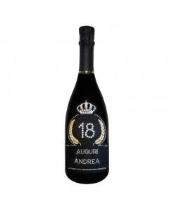 Bottiglia personalizzata con Swarovski Prosecco DOC De Faveri Extra Dry - Auguri di Compleanno con età, auguri e nome
