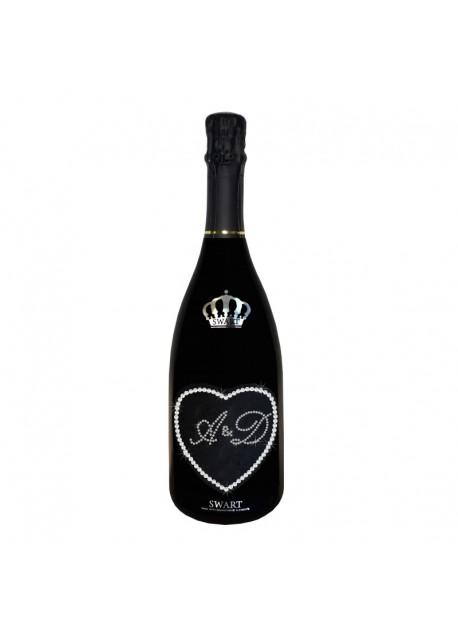 Bottiglia personalizzata con Swarovski Prosecco DOC De Faveri Extra Dry - Auguri di Matrimonio con Cuore e Iniziali