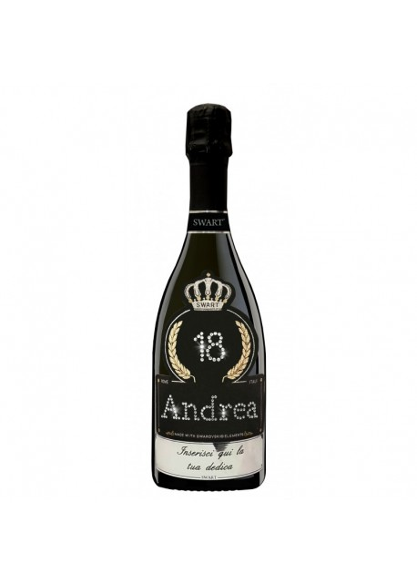 Bottiglia personalizzata con Swarovski Prosecco DOC De Faveri Extra Dry - Auguri di Compleanno con età, nome e dedica