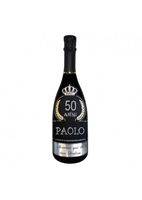 Bottiglia personalizzata con Swarovski Prosecco DOC De Faveri Extra Dry - Auguri di Compleanno con età, anni, nome e dedica