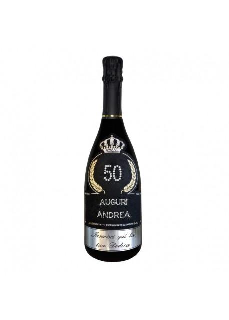 Bottiglia personalizzata con Swarovski Prosecco DOC De Faveri Extra Dry - Auguri di Compleanno con età, auguri, nome e dedica