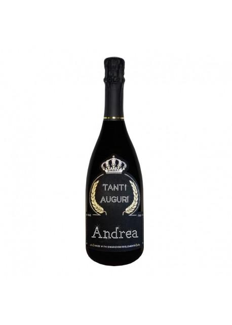 Bottiglia personalizzata con Swarovski Prosecco DOC De Faveri Extra Dry - Auguri di Compleanno con tanti auguri e nome