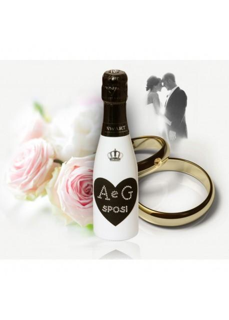 Mignon personalizzata con Swarovski Spumante Astoria - Auguri di Matrimonio con cuore e iniziali