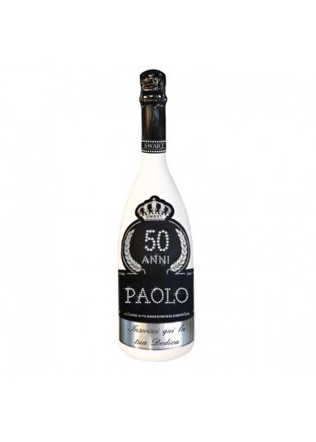 Bottiglia personalizzata con Swarovski Spumante Brut Astoria - Auguri di Compleanno con età, anni, nome e dedica