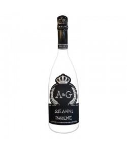 Bottiglia personalizzata con Swarovski Spumante Astoria - Auguri di Matrimonio con iniziali e anni insieme