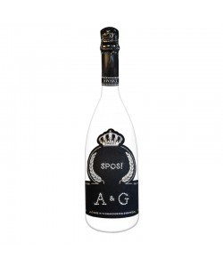 Bottiglia personalizzata con Swarovski Spumante Astoria - Auguri di Matrimonio con iniziali sposi e iniziali