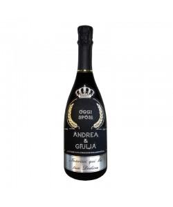 Bottiglia personalizzata con Swarovski Prosecco De Faveri Treviso Brut - Auguri di Matrimonio oggi sposi, nomi e dedica
