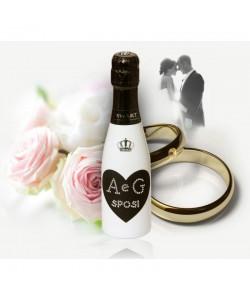 200 Mignon personalizzate con Swarovski Spumante Astoria - Auguri di Matrimonio con cuore e iniziali
