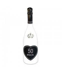 Bottiglia personalizzata con Swarovski Spumante Astoria - Auguri di compleanno con cuore, età e nome