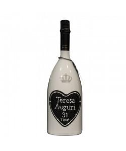 Magnum personalizzato con Swarovski Spumante Astoria - Auguri di compleanno con cuore, età e nome del festeggiato