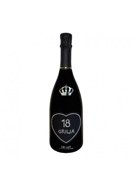 Bottiglia personalizzata con Swarovski Prosecco DOC De Faveri Extra Dry - Auguri di compleanno con cuore, età e nome