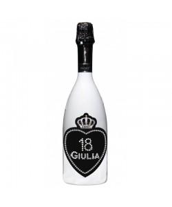 Bottiglia personalizzata con Swarowski Spumante Astoria - Auguri di compleanno con nome, età e cuore