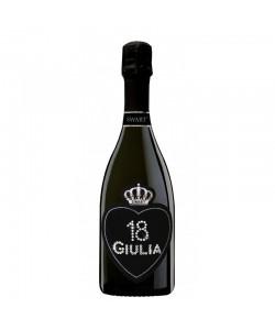 Bottiglia personalizzata con Swarovski Prosecco DOC Brut De Faveri - Auguri di compleanno con cuore