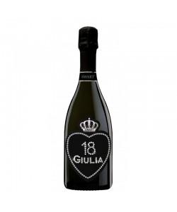 Bottiglia personalizzata con Swarovski Prosecco DOC De Faveri - Auguri di compleanno età, nome e cuore