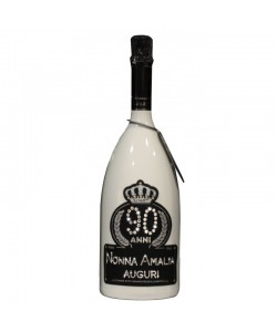 Magnum personalizzata con Swarovski Spumante Astoria - Auguri di compleanno con alloro, età e nome