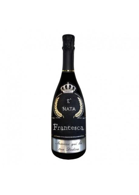 Bottiglia personalizzata con Swarovski Prosecco De Faveri Treviso Brut - Auguri di nascita con nome e dedica