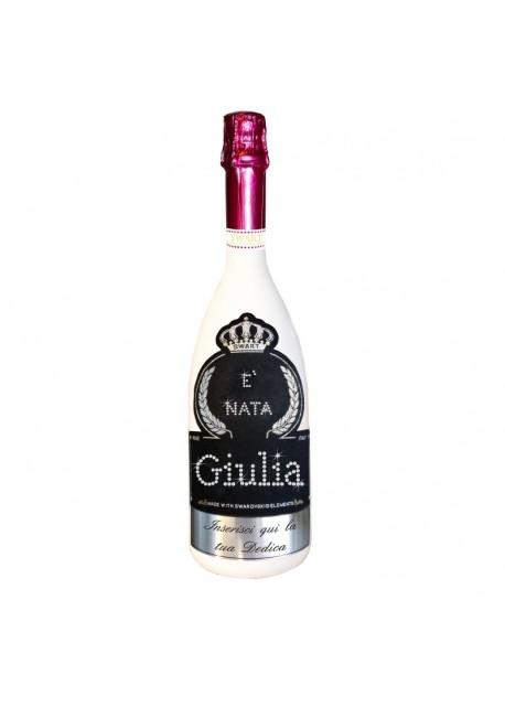 Bottiglia personalizzata con Swarovski Spumante Astoria Sparkling Wine Rosè Brut - Auguri di nascita con nome e dedica