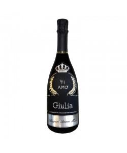 Bottiglia personalizzata con Swarovski Prosecco De Faveri Treviso Brut - Auguri di San Valentino con ti amo, nome e dedica