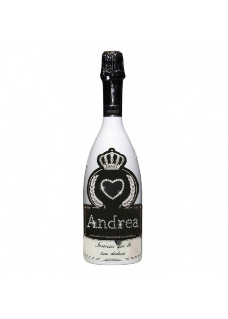 Bottiglia personalizzata con Swarovski Spumante Astoria - Auguri di San Valentino con simbolo, testo e dedica