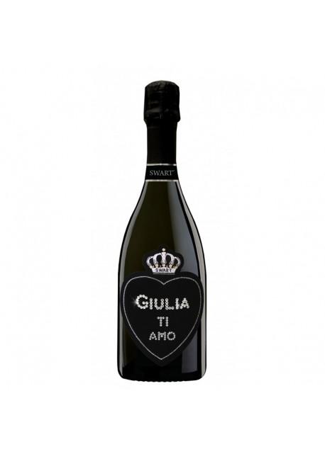 Bottiglia personalizzata con Swarovski Prosecco DOC De Faveri Extra Dry - Auguri di San Valentino con cuore