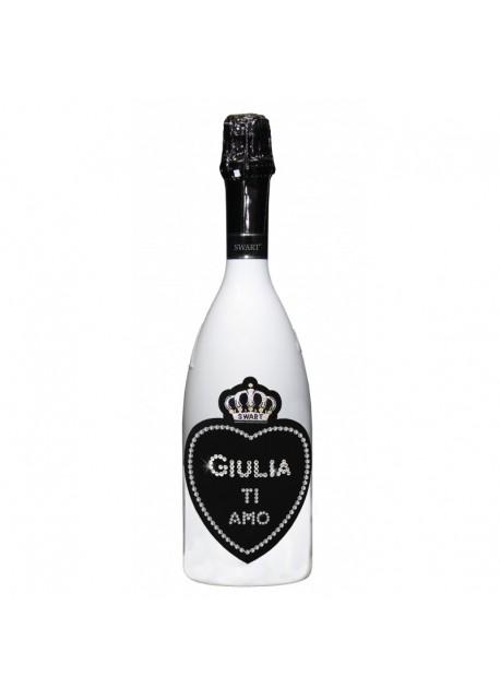 Bottiglia personalizzata con Swarovski Spumante Astoria - Auguri di San Valentino con cuore