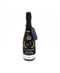 Bottiglia personalizzata con Swarovski Spumante Brut - Auguri Festa del Papà con dedica
