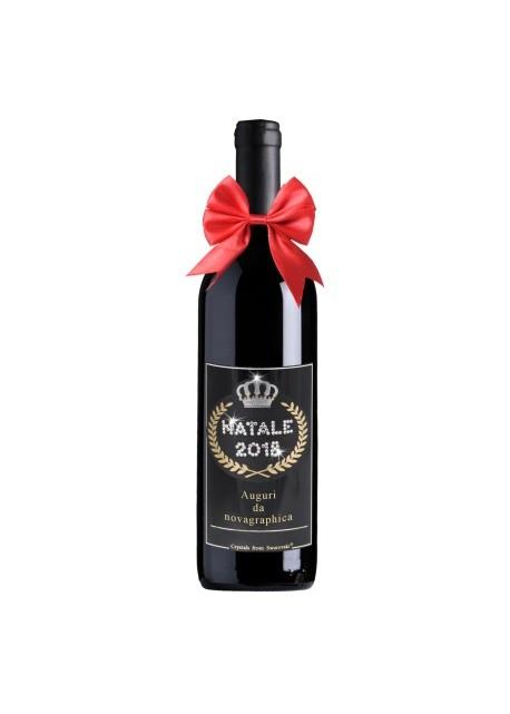 Bottiglia personalizzata con Swarovski Vino Chianti DOCG Natale 2018