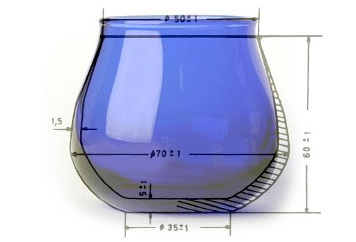 Dimensioni del bicchierino per la degustazione dell'olio